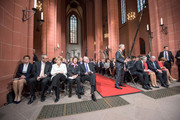 (L-R)  Eva Vosskuhle, the President of the Federal Constitutional Court Andreas Vosskuhle, Chancellor Angela Merkel, Gertrud Lammer, the President of the Bundestag Juergen Lammert, Germans President Joachim Gauck, Daniela Schaad, the Primeminister of Hesse Volker Bouffier and Ursula Bouffier attend events to celebrate the 25th anniversary of German reunification on October 3, 2015 in Frankfurt, Germany. On October 3, 1990, following the end of the Cold War, western-oriented, capitalist and democratic West Germany and post-revolution, formerly communist East Germany reunited into a single state after 41 years of official separation. Though the integration of the two former states into one is seen by most as a success, differences remain, particularly in average incomes and pensions, which in eastern Germany are lower.