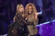 """Tyra Banks and Heidi Klum at the """"Germany's Next Top Model"""" finals at ISS Dome on May 23, 2019 in Duesseldorf, Germany."""