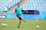 Thomas Mueller of Germany plays with the ball  during the Germany Training & Press Conference at Fisht Stadium on June 22, 2018 in Sochi, Russia.