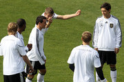 Thomas Mueller of Germany gestures during a training session at Super stadium on June 10, 2010 in Johannesburg, South Africa.