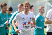 Thomas Mueller looks on during the Germany training session ahead of the 2018 FIFA World Cup at CSKA Sports Base on June 13, 2018 in Moscow, Russia.