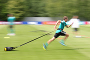 Thomas Mueller of Germany trains during the Germany training session ahead of the 2018 FIFA World Cup at CSKA Sports Base on June 14, 2018 in Moscow, Russia.