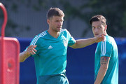 Thomas Mueller and Mesut Oezil of Germany during the Germany Training Session at ZSKA Vatutinki Sportarena on June 16, 2018 in Moscow, Russia.