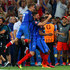Patrice Evra Photos - (L to R) Antoine Griezmann, Olivier Giroud and Patrice Evra of France celebrate their team's 2-0 win in the UEFA EURO semi final match between Germany and France at Stade Velodrome on July 7, 2016 in Marseille, France. - Germany v France - Semi Final: UEFA Euro 2016