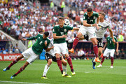 Hugo Ayala, Hector Moreno and Javier Hernandez compete for the ball with Thomas Mueller of Germany during the 2018 FIFA World Cup Russia group F match between Germany and Mexico at Luzhniki Stadium on June 17, 2018 in Moscow, Russia.