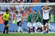 Thomas Mueller of Germany looks dejected following his sides defeat in the 2018 FIFA World Cup Russia group F match between Germany and Mexico at Luzhniki Stadium on June 17, 2018 in Moscow, Russia.