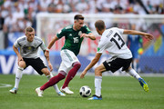 Thomas Mueller of Germany challenge for the ball with Hector Herrera of Mexico  during the 2018 FIFA World Cup Russia group F match between Germany and Mexico at Luzhniki Stadium on June 17, 2018 in Moscow, Russia.