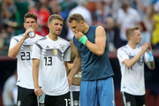 Thomas Mueller of Germany talks to Manuel Neuer following their team's defeat after the during the 2018 FIFA World Cup Russia group F match between Germany and Mexico at Luzhniki Stadium on June 17, 2018 in Moscow, Russia.