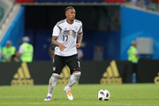 Jerome Boateng of Germany runs with the ball during the 2018 FIFA World Cup Russia group F match between Germany and Sweden at Fisht Stadium on June 23, 2018 in Sochi, Russia.