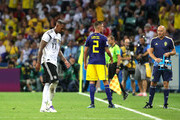 Jerome Boateng of Germany walks off after being shown a red card during the 2018 FIFA World Cup Russia group F match between Germany and Sweden at Fisht Stadium on June 23, 2018 in Sochi, Russia.