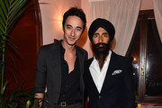 L-R Daniele Cavalli and Waris Ahluwalia attend Ghurka cocktail party during 88 Pitti Immagine Uomo at Harry's Bar on June 18, 2015 in Florence, Italy.