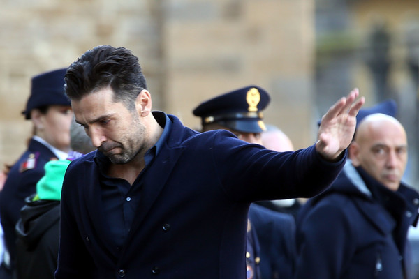 Davide Astori Funeral Service In Florence [people,crowd,event,gesture,tradition,official,police officer,police,street,captain,gianluigi buffon,davide astori,sleep,florence,italy,davide astori funeral service,juventus,fiorentina,funeral service]