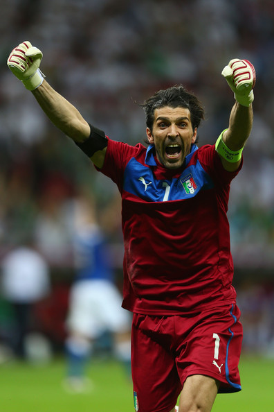 Gianluigi Buffon Gianluigi Buffon of Italy celebrates after team-mate Mario Balotelli scored his team's second goal during the UEFA EURO 2012 semi final match between Germany and Italy at the National Stadium on June 28, 2012 in Warsaw, Poland.