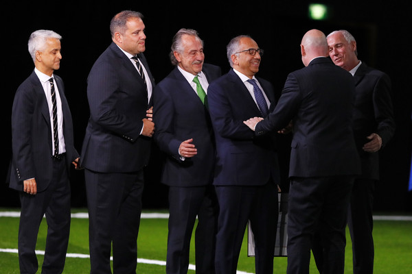 68th FIFA Congress [victor montagliani,gianni infantino,mexican football association decio de maria serrano,officials,president,bid,right,event,team,businessperson,suit,official,white-collar worker,gesture,fifa congress,fifa,united 2026]
