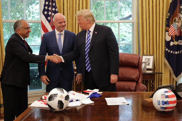 President Trump Meets With FIFA President Gianni Infantino At White House [official,event,soccer ball,gianni infantino,trump meets with fifa,donald trump,carlos cordeiro,president,r,hands,white house,u.s.,u.s. soccer]