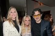 (L-R) Stuart Weitzman CMO Susan Duffy, Kristin Chenoweth, and Giovanni Morelli attend the Opening of Beverly Hills Boutique with a private VIP dinner hosted by Giovanni Morelli, Stuart Weitzman Creative Director, and Laura Brown, InStyle Editor-In-Chief at The Sunset Tower Hotel on January 19, 2018 in Los Angeles, California.