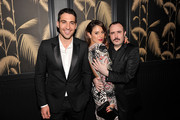 """(L to R) Miguel Angel Silvestre, Blanca Suarez, and Carlos Areces attend Girard-Perregaux And The Cinema Society With DeLeon Host a Screening Of Sony Pictures Classics' """"I'm So Excited""""  after-party at No. 8 on June 6, 2013 in New York City."""