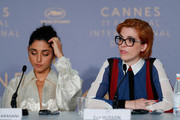 """Iranian actress Golshifteh Farahani and French director Eva Husson  attends the press conference for """"Girls Of The Sun (Les Filles Du Soleil)"""" during the 71st annual Cannes Film Festival at Palais des Festivals on May 13, 2018 in Cannes, France."""