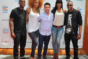 Singer Luke James, singer Kimmie Gee, President & Founder of Give Back Hollywood Todd Michael Krim, singer Kelly Rowland and dancer Chris Grant attend the Give Back Hollywood Foundation's benefit for VH1 Save the Music Foundation on August 26, 2011 in Los Angeles, California.