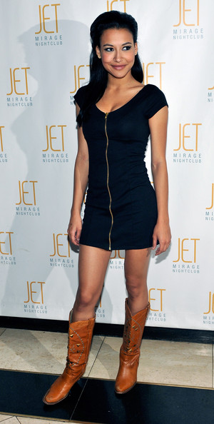 "Naya Rivera Actress and ""Glee"" cast member Naya Rivera arrives at her 23rd birthday celebration at Jet Nightclub at the Mirage Hotel & Casino early February 7, 2010 in Las Vegas, Nevada."