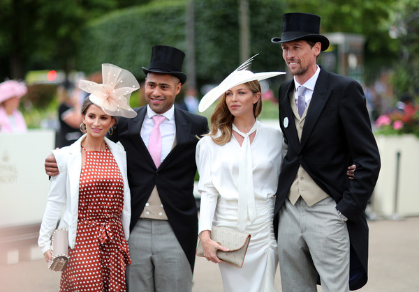 Royal Ascot 2019 - Day Three: Ladies Day [white,fashion,event,hat,headgear,suit,formal wear,tradition,dress,ceremony,l-r,ascot 2019,ascot,ascot racecourse,england,ladies day,glen johnson,laura johnson,peter crouch,abbey clancy]