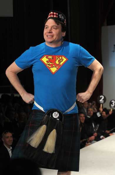 "Mike Myers Actor Mike Meyers walks the runway at the 8th annual ""Dressed To Kilt"" Charity Fashion Show presented by Glenfiddich at M2 Ultra Lounge on April 5, 2010 in New York City."