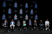 (L-R) Hugh Jackman, Patrice Motsepe, Babajide Sanwo-Olu, Uzo Aduba, Marc Pritchard, Mindy Grossman, Lars Ulrich, and Usher speak onstage during Global Citizen Presents Global Goal Live: The Possible Dream at St. Ann's Warehouse on September 26, 2019 in New York City.