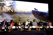 (L-R) Actors John Kani, Shahadi Wright Joseph, JD McCrary, Seth Rogen, Alfre Woodard, Chiwetel Ejiofor and Donald Glover attend the Global Press Conference for Disney's THE LION KING on July 10, 2019 in Beverly Hills, California.