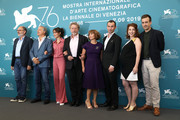 "(L-R) Jean-Pierre Darroussin, Gerard Meylan, Anais Demoustier, Robert Guediguian, Ariane Ascaride, Robinson Stevenin, Lola Naymark and Gregoire Leprince-Ringuet attends ""Gloria Mundi"" photocall during the 76th Venice Film Festival on September 05, 2019 in Venice, Italy."