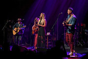 (L-R) Singers Jason Reeves, Nelly Joy,  Colbie Caillat, and Justin Young of the band Gone West perform at Gramercy Theatre on April 09, 2019 in New York City.