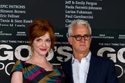 (L-R) Christina Hendricks and John Slattery attends the photocall for 'God's Pocket' at BFI Southbank on August 4, 2014 in London, England.