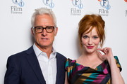 (L-R) John Slattery and Christina Hendricks attends the photocall for 'God's Pocket' at BFI Southbank on August 4, 2014 in London, England.