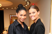 Chanel Iman and Nina Agdal attend the What Goes Around Comes Around Madison Avenue Flagship Opening Celebration with Pernod Ricard on February 08, 2019 in New York City.