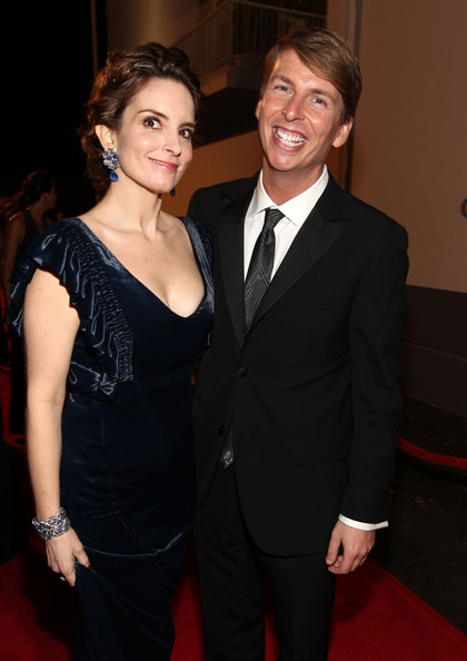 Actress Tina Fey (L) and actor Jack McBrayer arrive at NBCUniversal/Focus Features Golden Globes Viewing and After Party sponsored by Chrysler held at The Beverly Hilton hotel on January 16, 2011 in Beverly Hills, California.