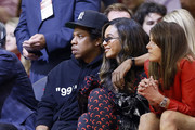 Jay-Z and Beyonce watch from courtside during Game Six of the Western Conference Semifinals of the 2019 NBA Playoffs at Toyota Center on May 10, 2019 in Houston, Texas. NOTE TO USER: User expressly acknowledges and agrees that, by downloading and or using this photograph, User is consenting to the terms and conditions of the Getty Images License Agreement.