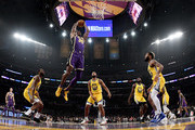 Dwight Howard #39 of the Los Angeles Lakers goes in for a dunk during a 120-94 Lakers win over the Golden State Warriors at Staples Center on November 13, 2019 in Los Angeles, California.  NOTE TO USER: User expressly acknowledges and agrees that, by downloading and/or using this photograph, user is consenting to the terms and conditions of the Getty Images License Agreement.