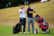 James Wright of Market Drayton Golf Club and  Craig Brown of Astbury Hall Golf Club measure the distance to the pin during the Golfbreaks.com PGA Fourball Championship Midland Qualifier at The Staffordshire Golf Club on July 4, 2017 in Stafford, England.