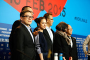 Cast and crew  attend the 'Gone with the Bullets' (Yi bu zhi yao) press conference during the 65th Berlinale International Film Festival at Grand Hyatt Hotel on February 11, 2015 in Berlin, Germany.