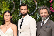"(L-R) Adria Arjona, David Tennant and Michael Sheen attend the Global premiere of Amazon Original ""Good Omens"" at Odeon Luxe Leicester Square on May 28, 2019 in London, England."