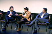 (L-R) Neil Gaiman, Michael Sheen and Jon Hamm speak during the Good Omens: The Nice and Accurate event during SXSW at ZACH Theatre on March 09, 2019 in Austin, Texas.