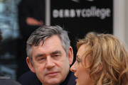 Prime Minister Gordon Brown talks to apprentice hair dresser Amy Robinson at Derby College on April 13, 2010 in Derby, England. The General Election, to be held on May 6, 2010 is set to be one of the most closely fought political contests in recent times with all main party leaders embarking on a four week campaign to win the votes of the United Kingdom electorate.
