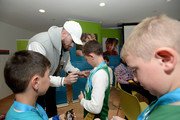 Gordon Hayward sign a jersey after playing video game at Boston Children's Hospital for Extra Life  November 2, 2019 in Boston, Massachusetts.