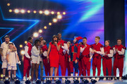 The winning dance acts (L-R) Duplic8; Dan-I & Sia and Unity with Davina McCall on stage during the third live show of 2014's 'Got To Dance' at Earls Court on August 27, 2014 in London, England.
