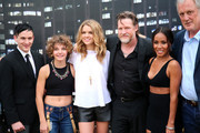 "(L-R) Actors Robin Lord Taylor, Camren Bicondova, Erin Richards, Donal Logue, Jada Pinkett Smith, and writer/producer Bruno Heller attend ""Gotham"" Zip Line during Comic-Con International 2014 on July 26, 2014 in San Diego, California."