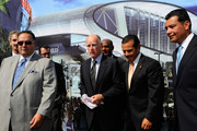 California Gov. Jerry Brown (C), State Assembly Speaker John Perez (L), Los Angeles Mayor Antonio Villaraigosa (2nd R) and State Sen. Alex Padilla, (R) (D-Los Angeles), author of S.B. 292 bill (R) stand together before Brown signed two bills at the Los Angeles Convention Center, the site of a proposed new stadium on September 27, 2011 in Los Angeles, California. Legislation SB 292 will put a 175-day time limit on legal challenges to the Anschutz Entertainment Group proposal for a $1.5 billion football stadium and convention center in downtown Los Angeles.