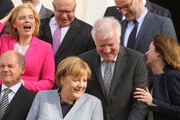 (L-R) Finance Minister and Vice Chancellor Olaf Scholz (SPD), Agriculture and Consumer Protection Minister Julia Kloeckner (CSU), Economy and Energy Minister Peter Altmaier (CDU), German Federal Chancellor Angela Merkel (CDU), Interior Minister Horst Seehofer (CSU), Health Minister Jens Spahn (CDU), and Justice Minister Katarina Barley (SPD) attend a government retreat at Schloss Meseberg on April 10, 2018 in Gransee, Germany. The government Cabinet is meeting at Schloss Meseberg for a two-day retreat, primarily to discuss trade on domestic, European Union, and wider international levels.