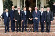 Kevin Andrews, Peter Dutton, Scott Morrison, Prime Minister Tony Abbott, Sussan Ley, Governor-General Peter Cosgrove, Christopher Pyne and Ian Macfarlane pose for media at Government House on December 23, 2014 in Canberra, Australia. Australian Prime Minister Tony Abbott today announced his first ministerial reshuffle to Governor-General Sir Peter Cosgrove.