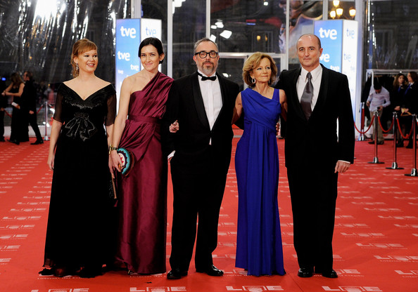 (L-R)  Minister Leire Pajin, Angeles Gonzalez Sinde, Director of the Academy of Cinematography Alex de la Iglesia, Elena Salgado and Miguel Sebastian arrives to the 2011 edition of the 'Goya Cinema Awards' ceremony at Teatro Real on February 13, 2011 in Madrid, Spain.