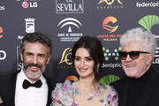 (L-R) Leonardo Sbaraglia, Penelope Cruz and Pedro Almodovar  attend the Goya Cinema Awards 2020 during the 34th edition of the Goya Cinema Awards at Jose Maria Martin Carpena Sports Palace on January 25, 2020 in Malaga, Spain.