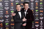 Antonio Banderas and Jon Kortajarena attends the Goya Cinema Awards 2020 during the 34th edition of the Goya Cinema Awards at Jose Maria Martin Carpena Sports Palace on January 25, 2020 in Malaga, Spain.